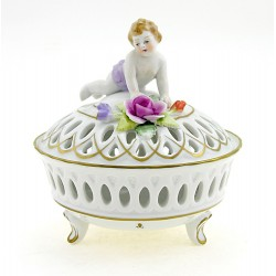 Vintage German Porcelain GDR Covered Dish With Cherub