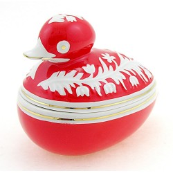 Vintage Hungarian Porcelain Duck Figurine Covered Dish - Red