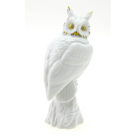 Hungarian Porcelain Hollohaza Owl Figurine – White and Gold