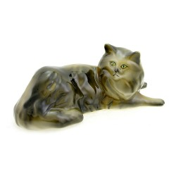 Hungarian Porcelain Hollohaza Persian Cat Figurine