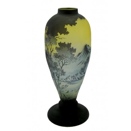 Large Cameo Glass Vase with Mountains