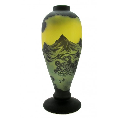 Large Cameo Art Glass Vase with Mountains