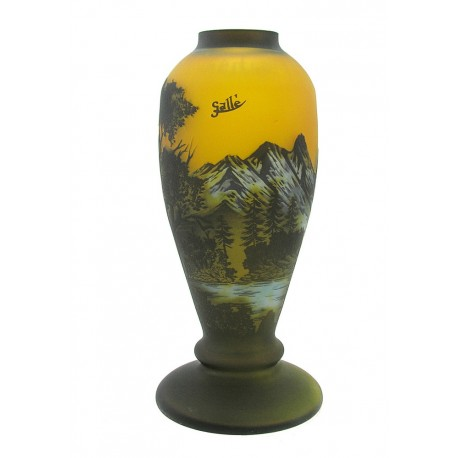 Cameo Art Glass Vase with Mountains and Trees 12 Inch