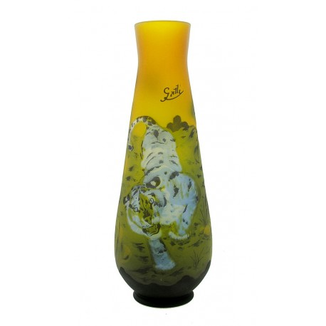 Large Cameo Art Glass Vase with Tiger