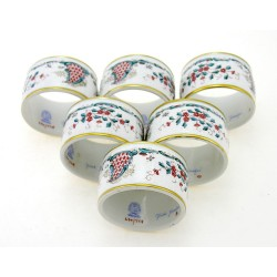 Herend Cornucopia Napkin Rings Set of Six - Signed