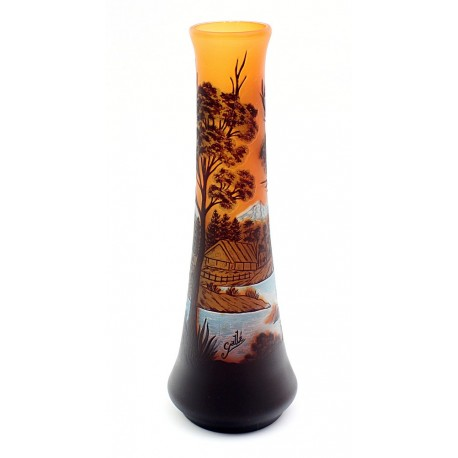 Cameo Glass Art Nouveau Vase Signed Galle Tip 15 Inch Tall
