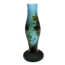 Cameo Glass Art Nouveau Blue Vase Signed Galle Tip 14 Inch Tall
