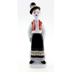 Hungarian Porcelain Hollohaza Boy Figurine in Traditional Dress