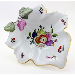 Large Herend Bouquet De Fruits Leaf Dish