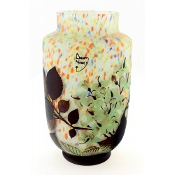 Cameo Glass Art Nouveau Daum Nancy Vase with Flowers 10 Inch Tall