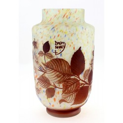 Cameo Glass Art Nouveau Vase with Flowers 10 Inch Tall Signed Daum Nancy Tip