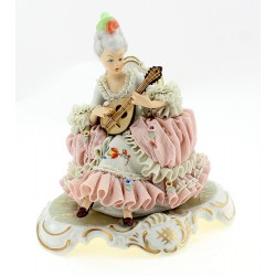 Dresden Lace Figurine – Sitting Lady Playing on Guitar