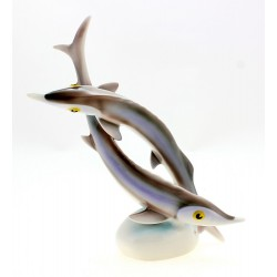 Vintage Hollohaza Pair of Fish Figurine Hungarian Porcelain