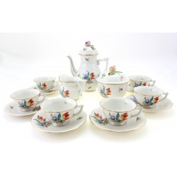 Vintage Herend Tulipe Bouquet Mocha Coffee Set For Six