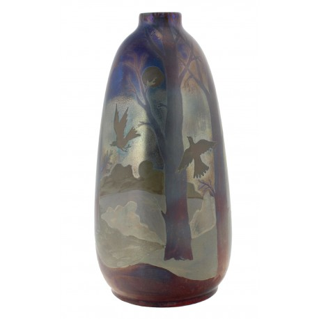 Hungarian Art Pottery Vase By Ferenc Halmos with Birds