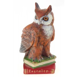 Vienna Bronze Cold Painted Solid Bronze Owl on Book Figurine