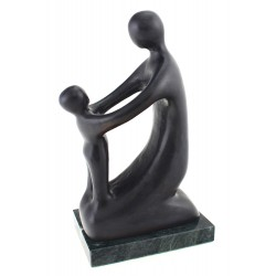 Solid Bronze Art Deco Mother and Child Statue by Pal Gyulavari