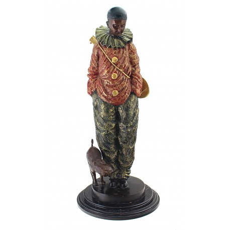 Large Bronze Clown Sculpture with Dog 25-inch Tall