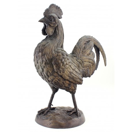 Life Size Solid Bronze Rooster Sculpture 20 Inch Tall