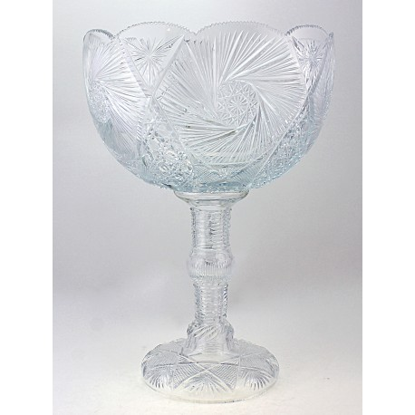 Vintage Crystal Footed Bowl Signed 16 Inch Tall