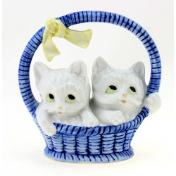 Carl Scheidig Kittens in Basket - German Porcelain 1990s