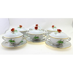 Vintage Herend Rosehip Decor Soup Cup & Saucer Set of Six