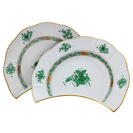Vintage Herend Green Chinese Bouquet Bone Plates Crescent Plates Set of Two