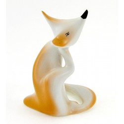 Vintage Hungarian Hollohaza Porcelain Deco Fox Figurine