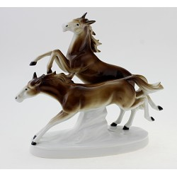 Carl Scheidig Running Horses Figurine German Porcelain