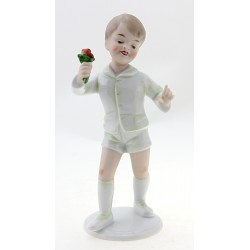 Wallendorf Boy Figurine with Flower German Porcelain