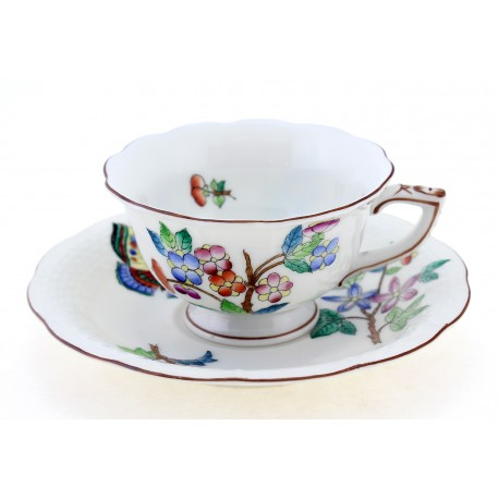 Antique Herend Mocha Coffee Cup & Saucer Dated 1944