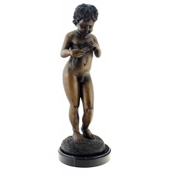 Solid Bronze Cherub with Fish Sculpture 17 Inch Tall