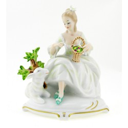 Wallendorf Porcelain Woman Figurine with Lamb
