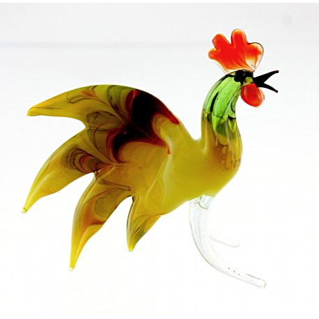 Murano Style Art Glass Rooster Figurine