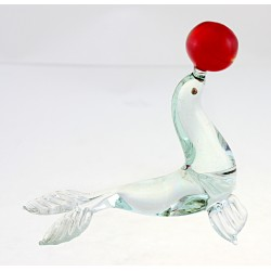 Murano Style Art Glass Seal Figurine with Ball