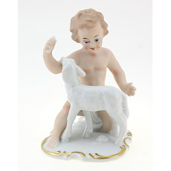 Wallendorf Cherub Figurine with Lamb