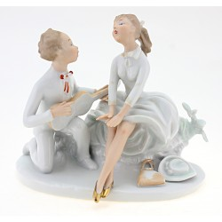 Vintage Wallendorf Figurine Young Pair with Guitar