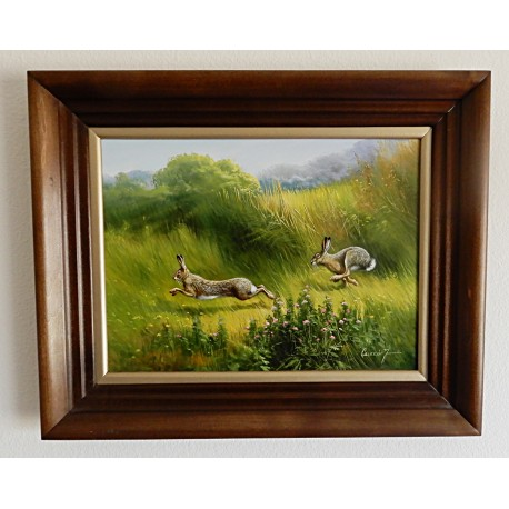 Oil Painting By Jozsef Csiszar - Wild Rabbits Running on the Meadow