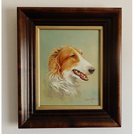Oil Painting By Jozsef Csiszar – Borzoi Dog Portrait
