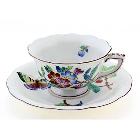 Vintage Herend Mocha Coffee Cup & Saucer Dated 1944
