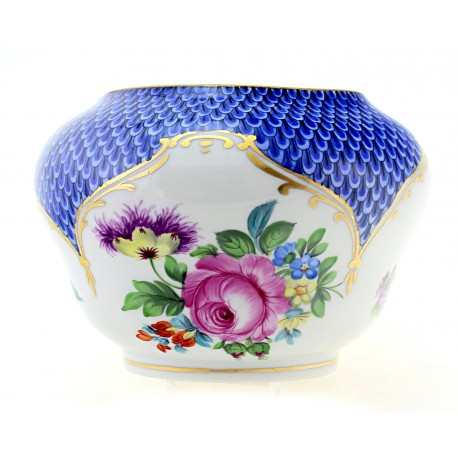 Antique Herend Bowl with Blue Border 1930s
