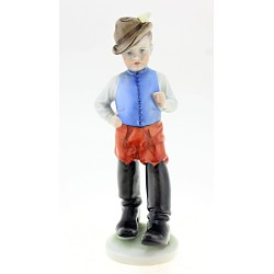 Vintage Hungarian Porcelain Herend Boy Figurine in Big Boots