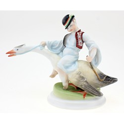 Vintage Herend Boy Riding on Goose Figurine 1960s