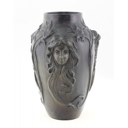 Solid Bronze Art Nouveau Vase with Faces by Pal Gyulavari