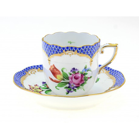 Herend Printemps Mocha Cup and Saucer Blue Border