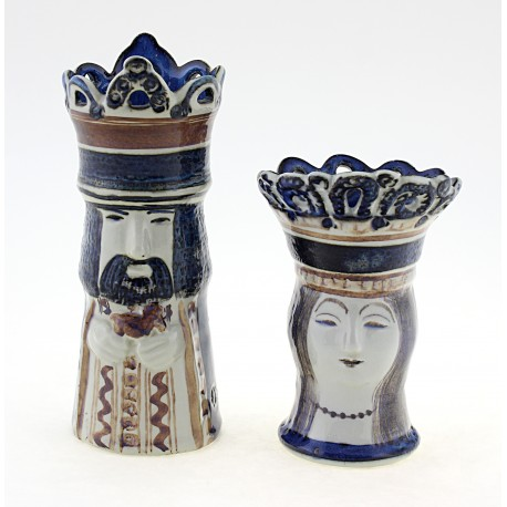 Rare Royal Copenhagen King & Queen Chess Figurines Vases