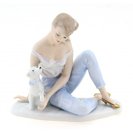 Rare Wallendorf Porcelain Figurine – Girl with Dog