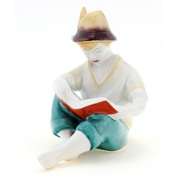 Vintage Hollohaza Sitting Boy Reading Figurine
