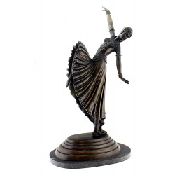 Large Art Deco Dancer Woman on Marble Base
