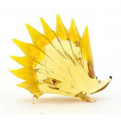 Murano Style Art Glass Hedgehog Figurine Yellow